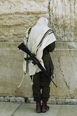 Number Of People Photograph - Israeli Soldier With Rifle Praying by Paul Chesley