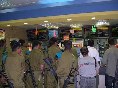 Israeli Soldiers Stop At A Kosher Mcdonald's Art Print by Susan Heller