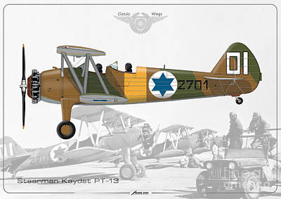 Drawing - Israeli Air Force Stearman Kaydet Pt-13 by Amos Dor