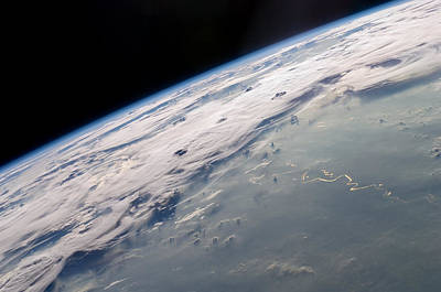 Photograph - Iss-20 Thunderstorms On The Brazilian Horizon by Artistic Panda
