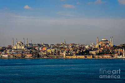 Photograph - Istanbul Blue Mosque And Hagia Sophia From Bosphorus by Debra Martz