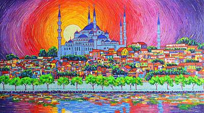 Istanbul Blue Mosque Sunset Modern Impressionist Palette Knife Oil Painting By Ana Maria Edulescu    Original