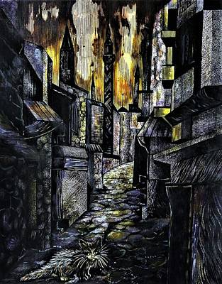Drawing - Istanbul Impressions. Lost In The City. by Anna Duyunova