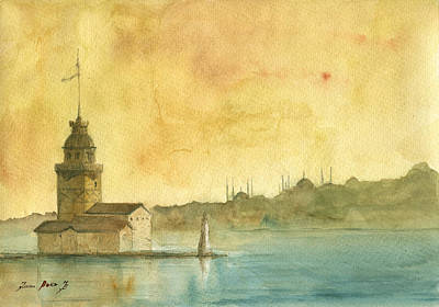 Mosque Painting - Istanbul Maiden Tower by Juan Bosco