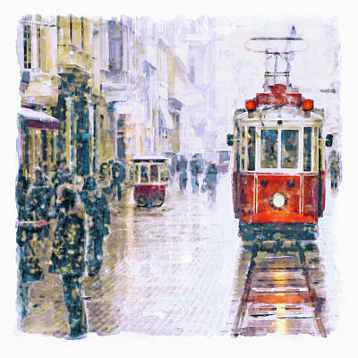 Snow Mixed Media - Istanbul Nostalgic Tramway by Marian Voicu