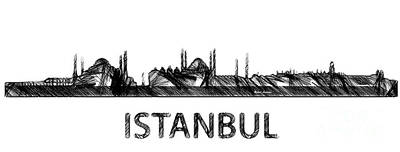 Digital Art - Istanbul Silouhette Sketch  by Rafael Salazar