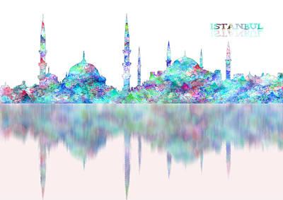 Digital Watercolor Painting - Istanbul Skyline Digital Blue Reflection by Georgeta Blanaru