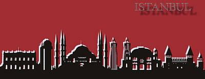 Turkey Mixed Media - Istanbul Skyline Silhouette Pop Art by Dan Sproul