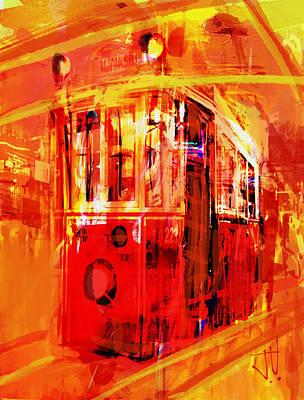 Digital Art - Istanbul Trolley Car by Jim Vance