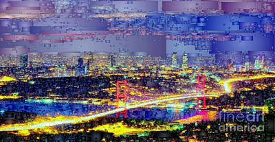 Digital Art - Istanbul Turkey At Night by Rafael Salazar