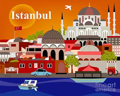 Turkey Digital Art - Istanbul Turkey Horizontal Scene by Karen Young