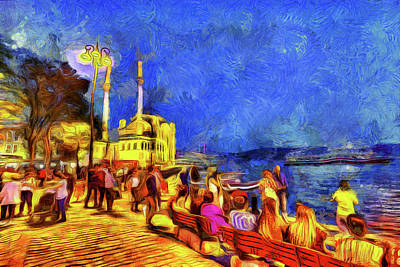 Turkey Mixed Media - Istanbul Van Gogh by David Pyatt