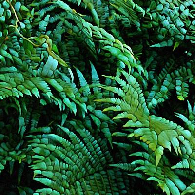 Mixed Media - It Greens So Green ... Fern Abstract  by Gabriella Weninger - David