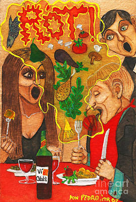 It Happened In A Restaurant Art Print by Don Pedro De Gracia