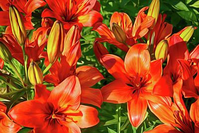 Stamen Digital Art - It Is A Lot Of Red Lilies by Tatiana Tyumeneva