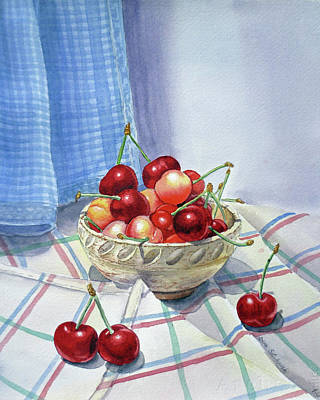 Ceramics Painting - It Is Raining Cherries by Irina Sztukowski