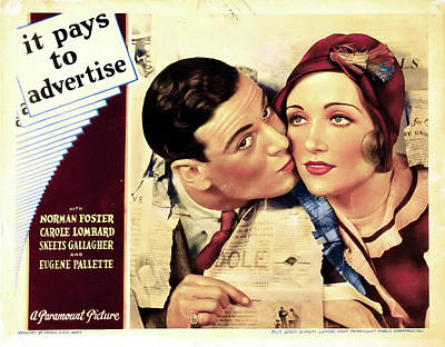 Classic Film Star Mixed Media - It Pays To Advertise 1931 by Mountain Dreams