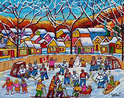 Painting - It Takes A Village Winter Playground Outdoor Hockey Rink Country Landscape Canadian Painting         by Carole Spandau