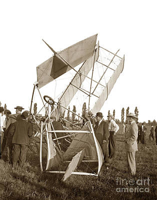 Photograph - It Was A Good Landing The Pilot Walked Away  Twin Wing Aircraft  Circa 1909 by California Views Archives Mr Pat Hathaway Archives