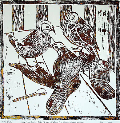 Linoprint Painting - It Wasn't Me by Huth Anne