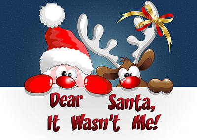 Digital Art - It Wasn't Me Santa by JH Designs