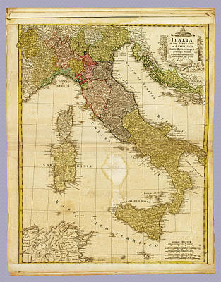 Photograph - Italia Antique 1790 Italy  Map by Phil Cardamone