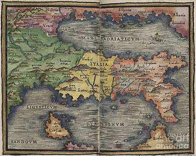 Photograph - Italia Italy Map By Johannes Honter 1542 by Rick Bures