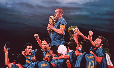 Soccer Painting - Italia The Blues by Paul Meijering
