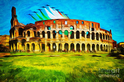 Photograph - Italian Aerobatics Team Over The Colosseum by Stefano Senise