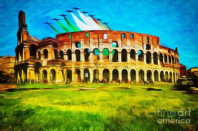 Italian Aerobatics Team Over The Colosseum Art Print by Stefano Senise