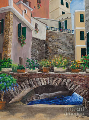 Villa Painting - Italian Arched Bridge With Flower Pots by Charlotte Blanchard