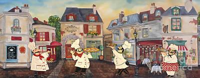 Digital Watercolor Painting - Italian Chefs-jp3041 by Jean Plout