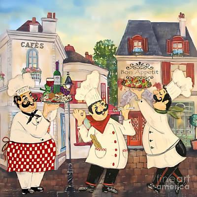 Digital Watercolor Painting - Italian Chefs-jp3042 by Jean Plout