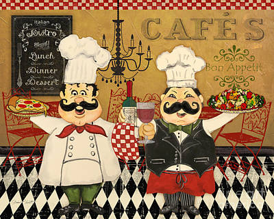 Italian Kitchen Painting - Italian Chefs-jp3045 by Jean Plout