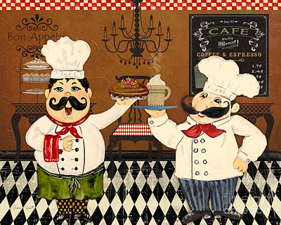 Italian Kitchen Painting - Italian Chefs-jp3047 by Jean Plout