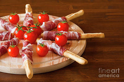 Wooden Platter Photograph - Italian Chopping Board With Ham Cheese And Cherry Tomatoes by Luigi Morbidelli