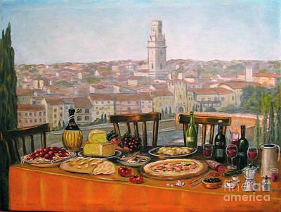 Italian Cityscape-verona Feast Art Print