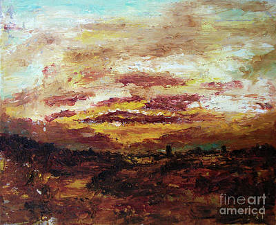 Painting - Italian Countryside Landscape Sunset On Tyrrhenian Sea - Italian And Roman Countryside Landscape by Alessandro Nesci