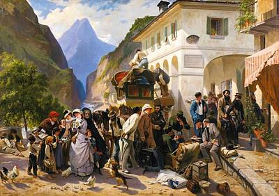 Giraud Painting - Italian Customs At Simplon by MotionAge Designs