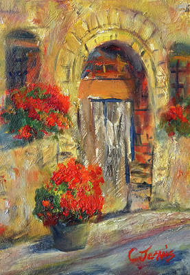 Painting - Italian Door With Geraniums by Carolyn Jarvis