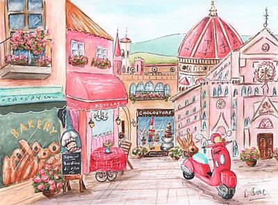 Italian Bakery Painting - Italian Girl - Florence, Italy Street Scene by Debbie Cerone