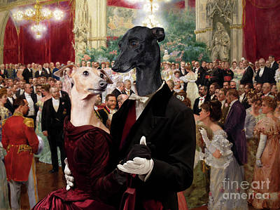Painting - Italian Greyhound Art Canvas Print - Beautiful City Dance Hall Vienna Wilhelm Gause by Sandra Sij