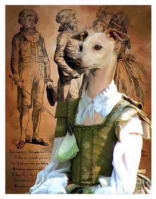 Painting - Italian Greyhound Art Canvas Print - Sweet Lady by Sandra Sij