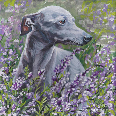 Painting -  Italian Greyhound In Flowers by Lee Ann Shepard