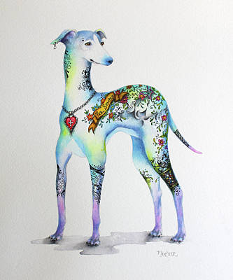 Greyhounds Mixed Media - Italian Greyhound Tattoo Dog by Patricia Lintner