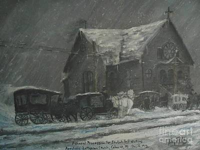 Wall Art - Painting - Italian Hall Victims Funeral Procession by Terry Mills