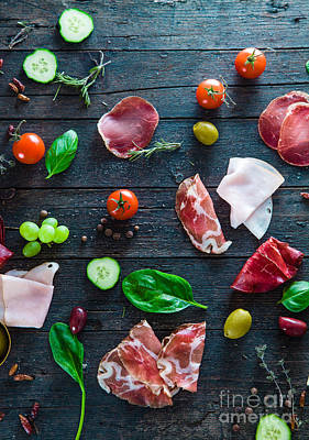 Italian Ham On Wood Art Print by Mythja Photography