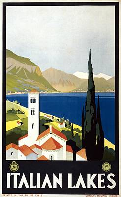 Landscapes Royalty-Free and Rights-Managed Images - Italian Lakes - Vintage Travel Poster - Landscape Illustration by Studio Grafiikka