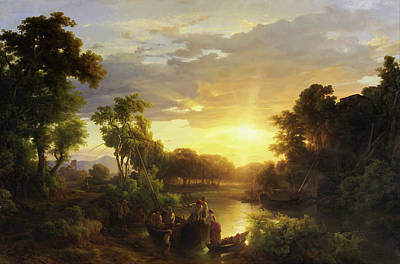 Antique Italian Oil Painting - Italian Landscape At Sunset With Fishermen by Karoly Marko