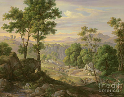 Mountain Valley Painting - Italian Landscape by Joachim Faber